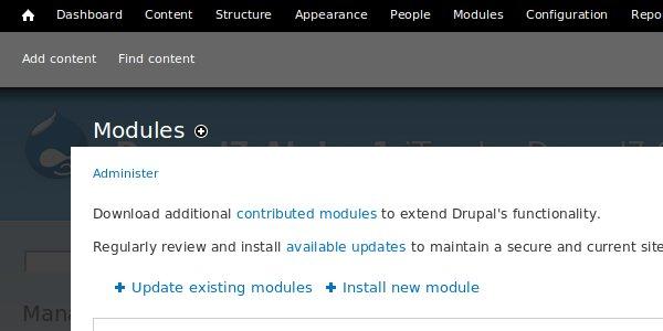 Screenshot of Drupal 7 module admin area showing auto update links