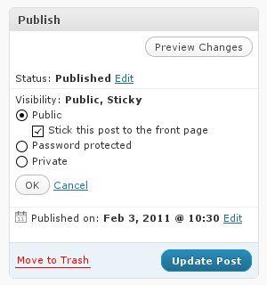Publish settings panel in the WordPress post edit admin screen.