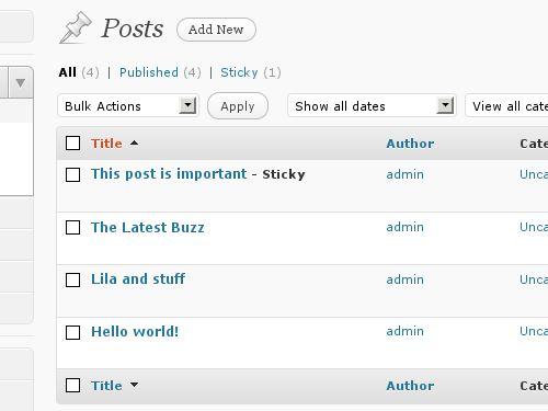 Sortable list screens based on column data in WordPress