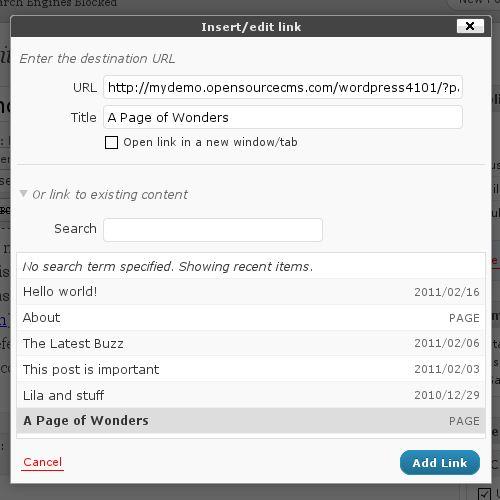 WordPress insert/edit link dialog box in the post editor screen