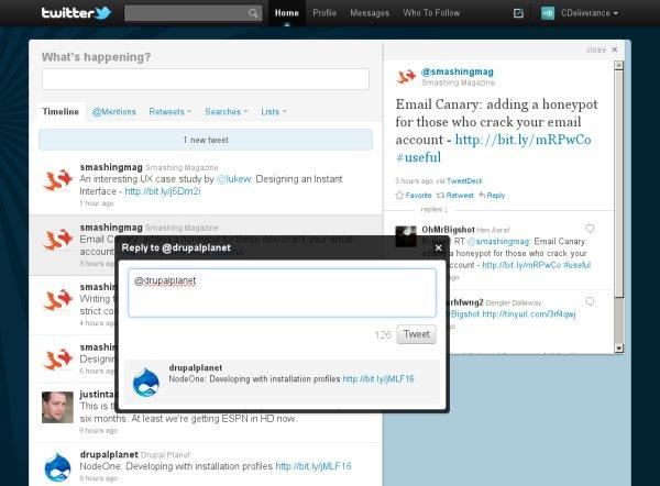 Screenshot of the new Twitter interface